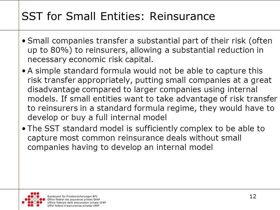 12 SST for Small Entities: Reinsurance Small companies transfer a substantial part of their risk (often up to 80%) to reinsurers, allowing a substanti