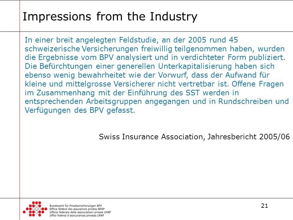 21 Impressions from the Industry In einer breit angelegten Feldstudie, an der 2005 rund 45 schweizerische Versicherungen freiwillig teilgenommen haben, wurden die Ergebnisse vom BPV analysiert und in verdichteter Form publiziert.