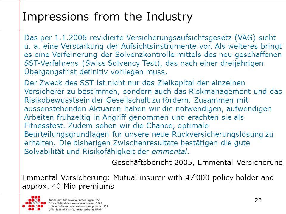 23 Impressions from the Industry Das per 1.1.2006 revidierte Versicherungsaufsichtsgesetz (VAG) sieht u.