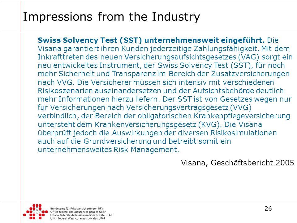 26 Impressions from the Industry Swiss Solvency Test (SST) unternehmensweit eingeführt. Die Visana garantiert ihren Kunden jederzeitige Zahlungsfähigk