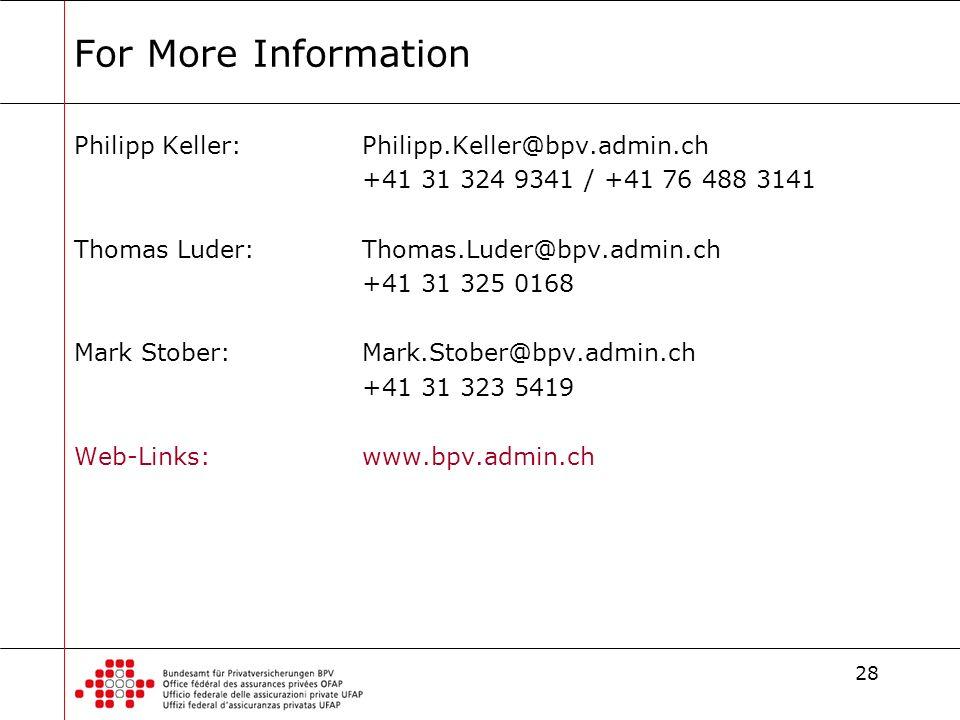 28 For More Information Philipp Keller:Philipp.Keller@bpv.admin.ch +41 31 324 9341 / +41 76 488 3141 Thomas Luder:Thomas.Luder@bpv.admin.ch +41 31 325 0168 Mark Stober:Mark.Stober@bpv.admin.ch +41 31 323 5419 Web-Links:www.bpv.admin.ch
