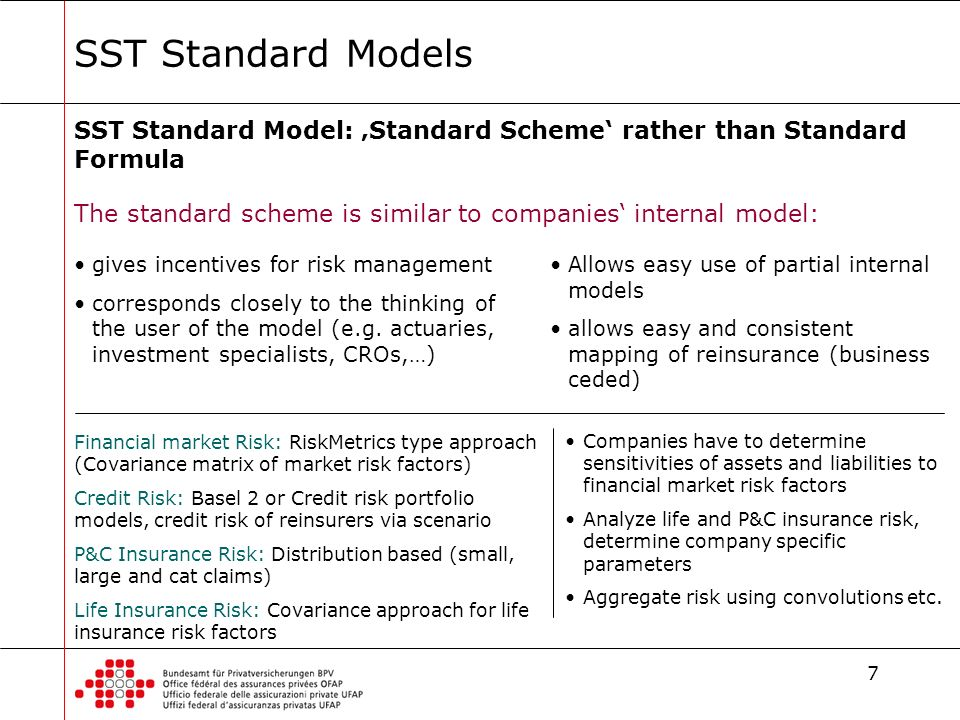 7 SST Standard Models SST Standard Model: Standard Scheme rather than Standard Formula The standard scheme is similar to companies internal model: Fin