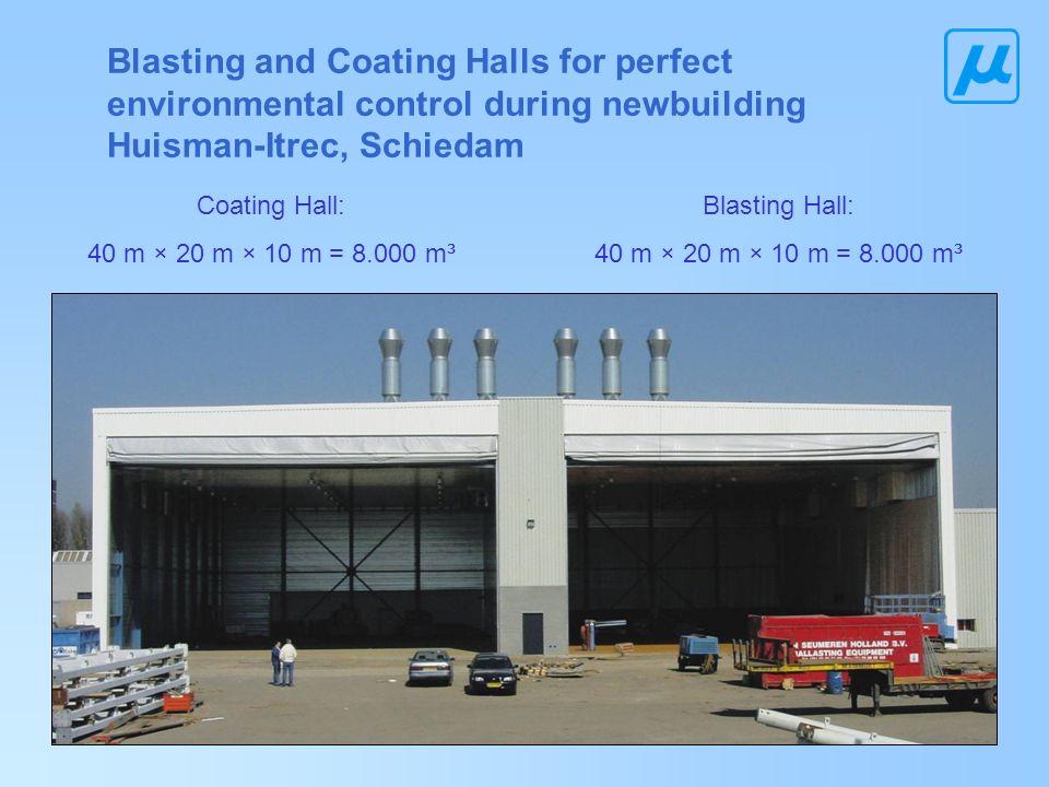Blasting and Coating Halls for perfect environmental control during newbuilding Huisman-Itrec, Schiedam Blasting Hall: 40 m × 20 m × 10 m = 8.000 m³ C
