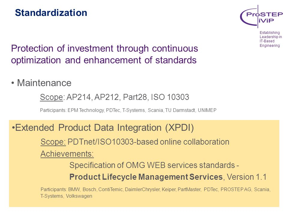 Standardization Protection of investment through continuous optimization and enhancement of standards Maintenance Scope: AP214, AP212, Part28, ISO 103