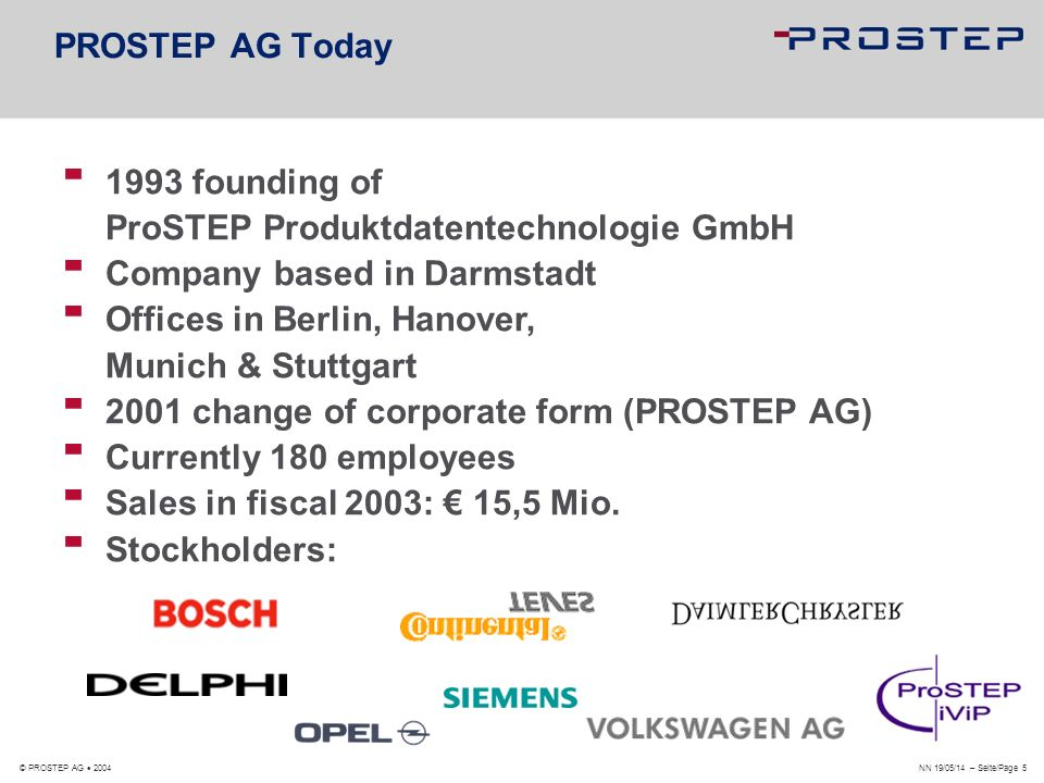 NN 19/05/14 – Seite/Page 6 © PROSTEP AG 2004 PROSTEP Group PLM-Consulting CA-Technologies PDM-Integration Supplier Engineering-Communication mySAP/PLM Consulting Software Development The mySAP/PLM Experts AeroSpace Solutions Standard Software Development Group