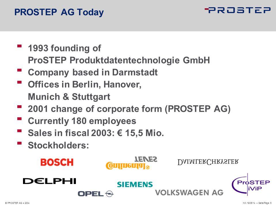 PROSTEP AG Dolivostraße 11 64293 Darmstadt www.prostep.com © PROSTEP AG 2004 i n t e g r a t e t h e f u t u r e