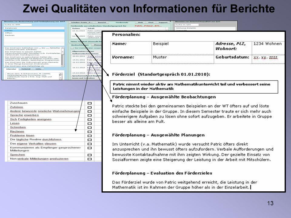 13 Zwei Qualitäten von Informationen für Berichte