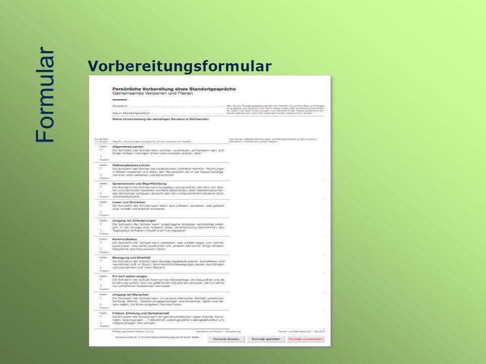 Vorbereitungsformular Formular