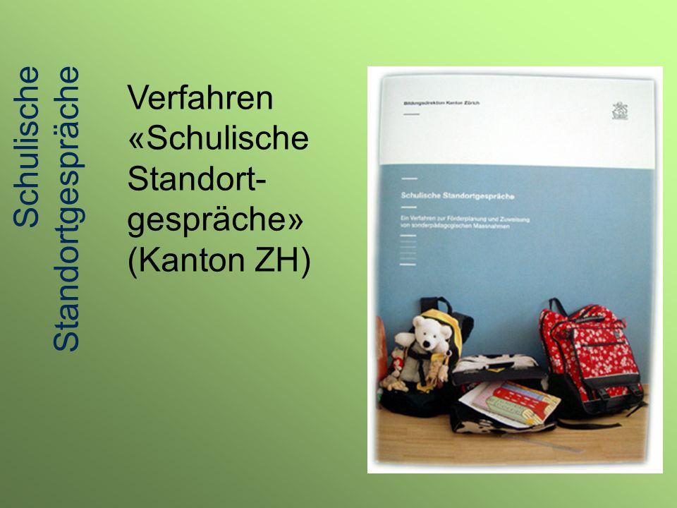 Verfahren «Schulische Standort- gespräche» (Kanton ZH) Schulische Standortgespräche