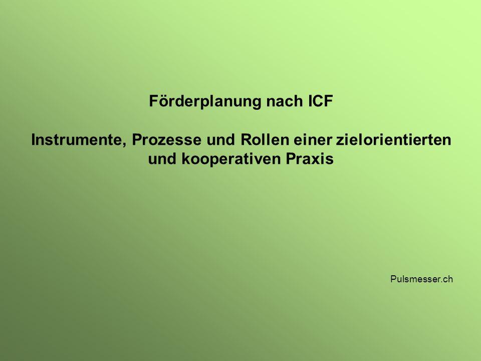 Förderplanung nach ICF Instrumente, Prozesse und Rollen einer zielorientierten und kooperativen Praxis Pulsmesser.ch