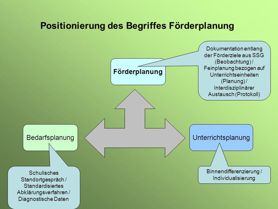 Positionierung des Begriffes Förderplanung Bedarfsplanung Förderplanung Unterrichtsplanung Schulisches Standortgespräch / Standardisiertes Abklärungsv