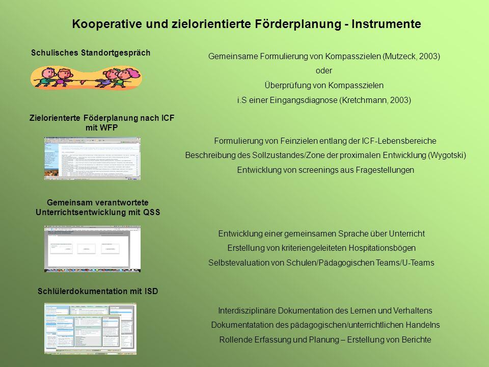 Kooperative und zielorientierte Förderplanung - Instrumente Schulisches Standortgespräch Gemeinsame Formulierung von Kompasszielen (Mutzeck, 2003) ode