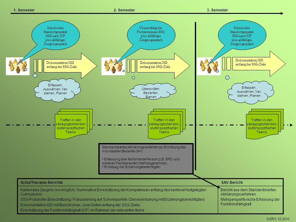 Dokumentation ISD entlang der SSG-Ziele Dokumentation ISD entlang der SSG-Ziele Überprüfung der Förderziele aus SSG plus allfälliges Zeugnisgespräch S