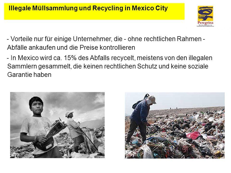 Illegale Müllsammlung und Recycling in Mexico City - Vorteile nur für einige Unternehmer, die - ohne rechtlichen Rahmen - Abfälle ankaufen und die Pre