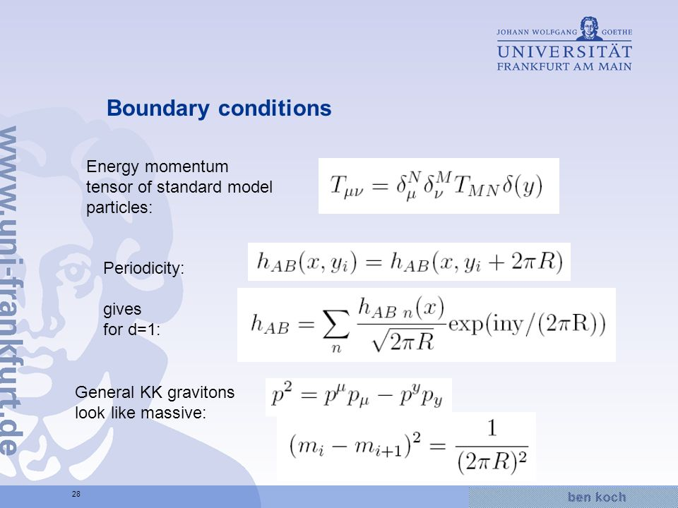 Hier wird Wissen Wirklichkeit 28 Boundary conditions Energy momentum tensor of standard model particles: Periodicity: gives for d=1: General KK gravitons look like massive: