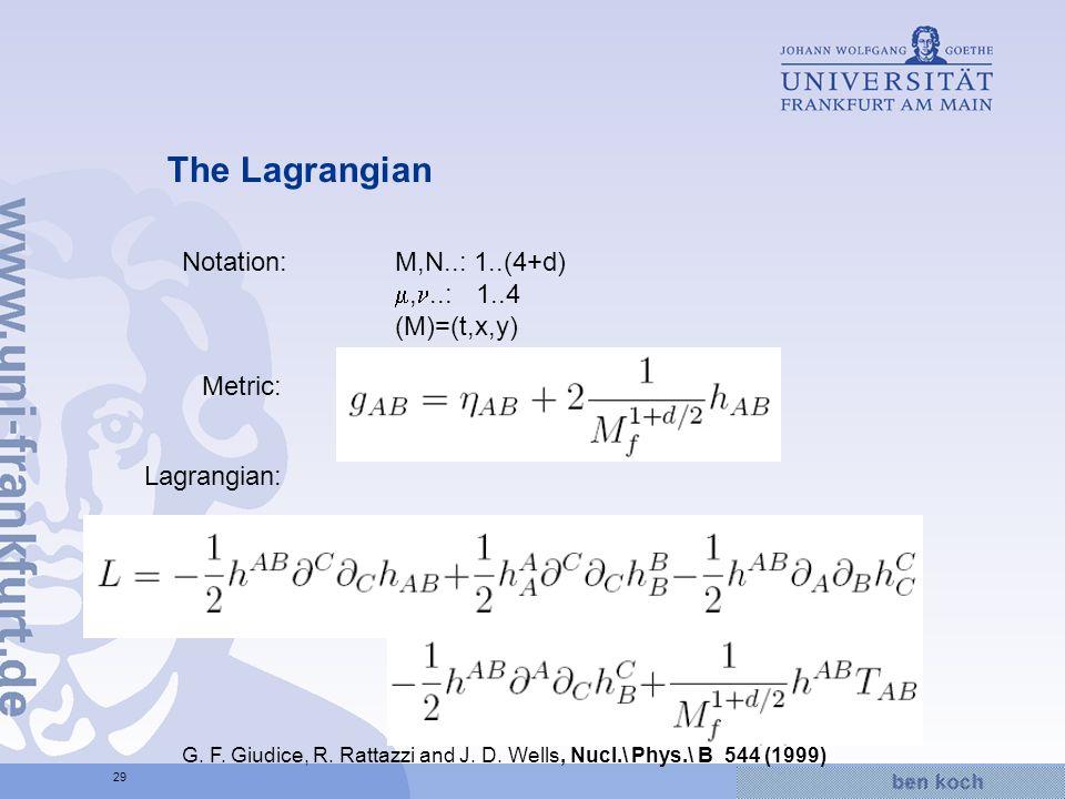 Hier wird Wissen Wirklichkeit 29 The Lagrangian Metric: Notation:M,N..: 1..(4+d),..: 1..4 (M)=(t,x,y) Lagrangian: G. F. Giudice, R. Rattazzi and J. D.