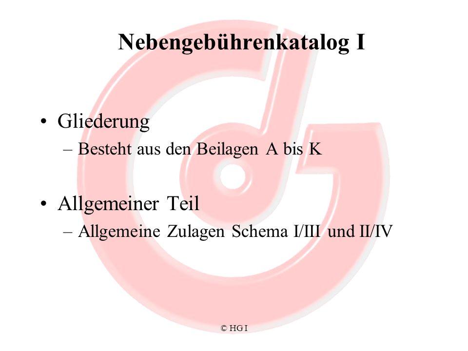 © HG I Nebengebührenkatalog I Gliederung –Besteht aus den Beilagen A bis K Allgemeiner Teil –Allgemeine Zulagen Schema I/III und II/IV