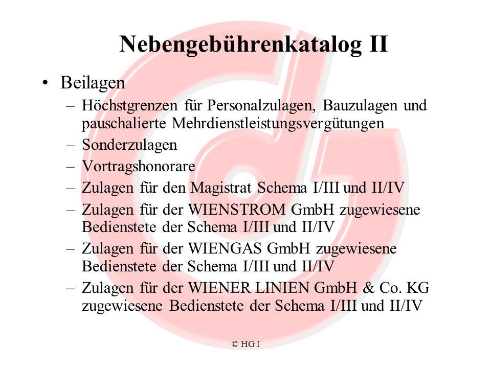 © HG I Nebengebührenkatalog II Beilagen –Höchstgrenzen für Personalzulagen, Bauzulagen und pauschalierte Mehrdienstleistungsvergütungen –Sonderzulagen –Vortragshonorare –Zulagen für den Magistrat Schema I/III und II/IV –Zulagen für der WIENSTROM GmbH zugewiesene Bedienstete der Schema I/III und II/IV –Zulagen für der WIENGAS GmbH zugewiesene Bedienstete der Schema I/III und II/IV –Zulagen für der WIENER LINIEN GmbH & Co.