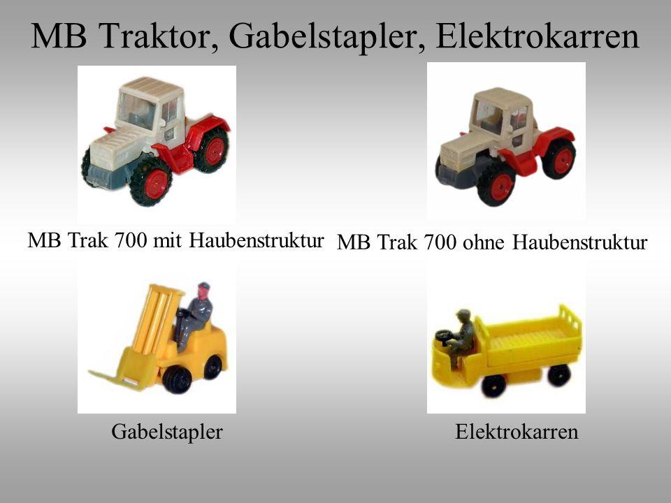 MB Trak 700 ohne Haubenstruktur MB Trak 700 mit Haubenstruktur GabelstaplerElektrokarren MB Traktor, Gabelstapler, Elektrokarren