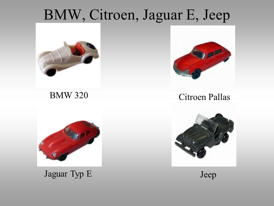 BMW 320 Citroen Pallas Jaguar Typ E Jeep BMW, Citroen, Jaguar E, Jeep