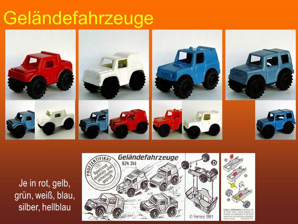 Geländefahrzeuge Je in rot, gelb, grün, weiß, blau, silber, hellblau