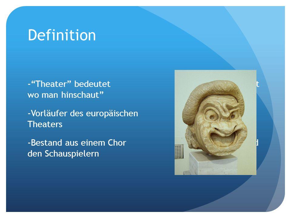 Definition -Theater bedeutet Ort wo man hinschaut -Vorläufer des europäischen Theaters -Bestand aus einem Chor und den Schauspielern
