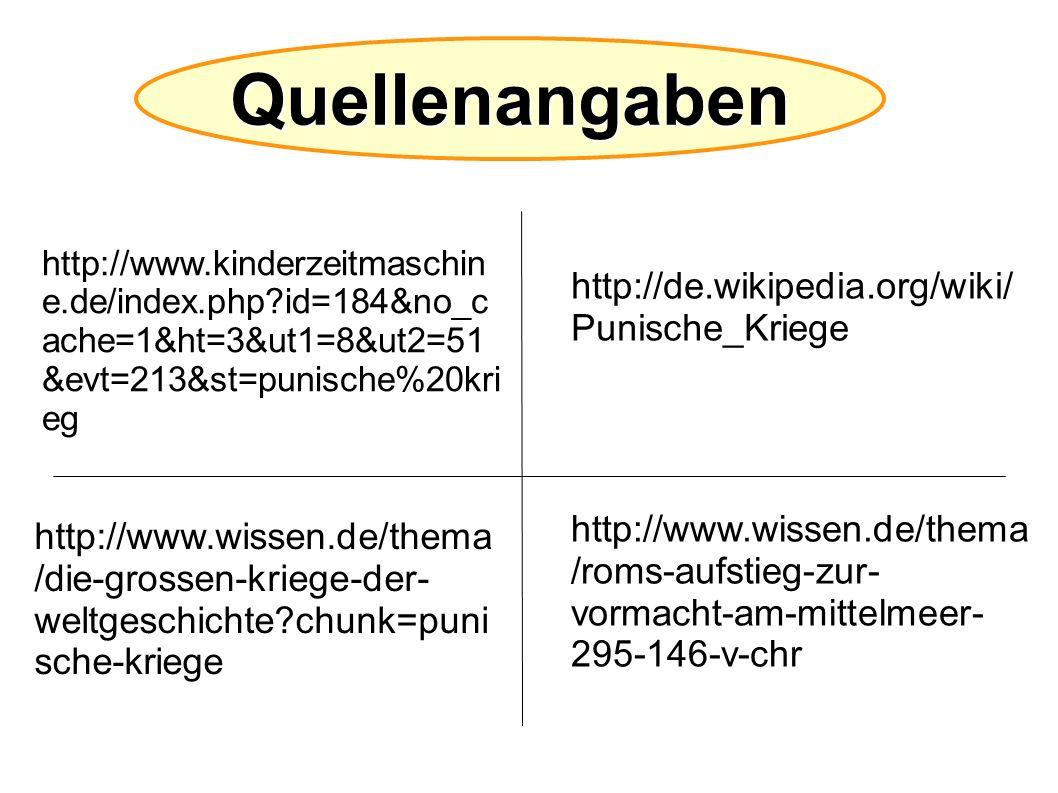 Quellenangaben http://www.kinderzeitmaschin e.de/index.php?id=184&no_c ache=1&ht=3&ut1=8&ut2=51 &evt=213&st=punische%20kri eg http://de.wikipedia.org/