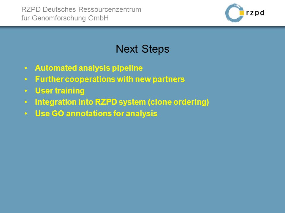 RZPD Deutsches Ressourcenzentrum für Genomforschung GmbH Next Steps Automated analysis pipeline Further cooperations with new partners User training Integration into RZPD system (clone ordering) Use GO annotations for analysis