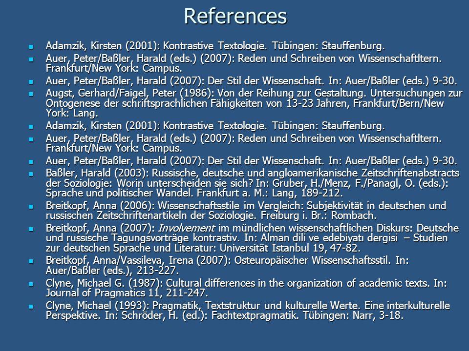 References Adamzik, Kirsten (2001): Kontrastive Textologie. Tübingen: Stauffenburg. Adamzik, Kirsten (2001): Kontrastive Textologie. Tübingen: Stauffe