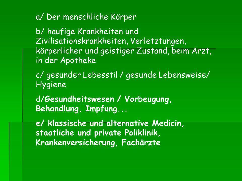 a/ Der menschliche Körper b/ häufige Krankheiten und Zivilisationskrankheiten, Verletztungen, körperlicher und geistiger Zustand, beim Arzt, in der Ap