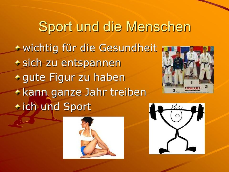 Sport und die Menschen wichtig für die Gesundheit sich zu entspannen gute Figur zu haben kann ganze Jahr treiben ich und Sport
