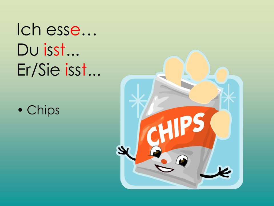 Ich esse… Du isst... Er/Sie isst... Chips