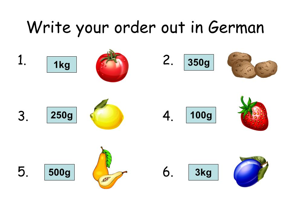 Write your order out in German 1.2. 3.4. 5.6. 1kg 250g 350g 100g 3kg500g
