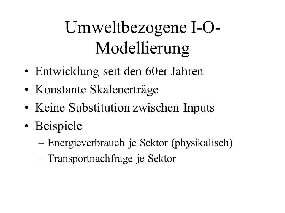 Anwendungen der umweltbezogenen I-O-Modelle Strukturänderung im Intermediärverbrauch –Z.B.