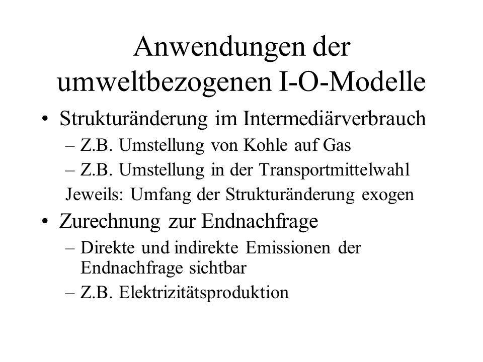 Kosten und Preise in der I-O- Modellierung Wir wirkt CO 2 -Steuer auf Preise und VPI.