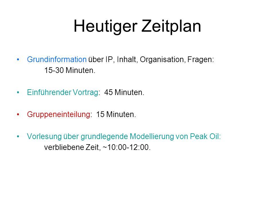 Heutiger Zeitplan Grundinformation über IP, Inhalt, Organisation, Fragen: 15-30 Minuten. Einführender Vortrag: 45 Minuten. Gruppeneinteilung: 15 Minut