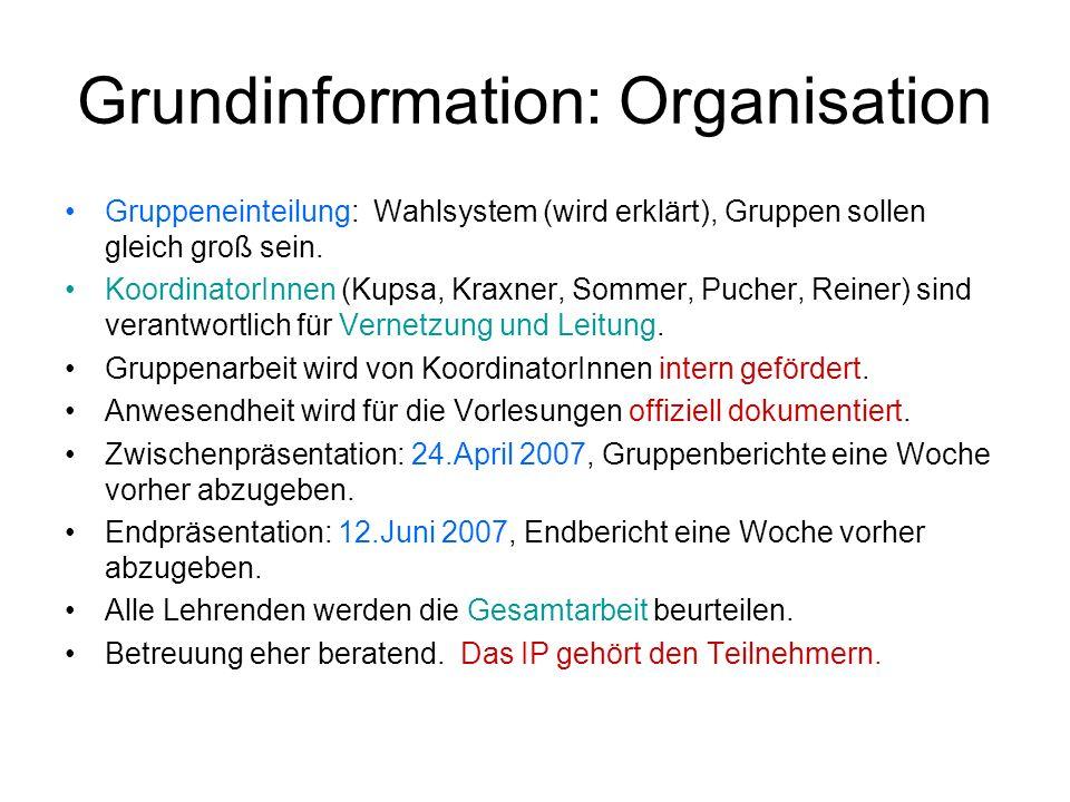 Grundinformation: Organisation Gruppeneinteilung: Wahlsystem (wird erklärt), Gruppen sollen gleich groß sein. KoordinatorInnen (Kupsa, Kraxner, Sommer