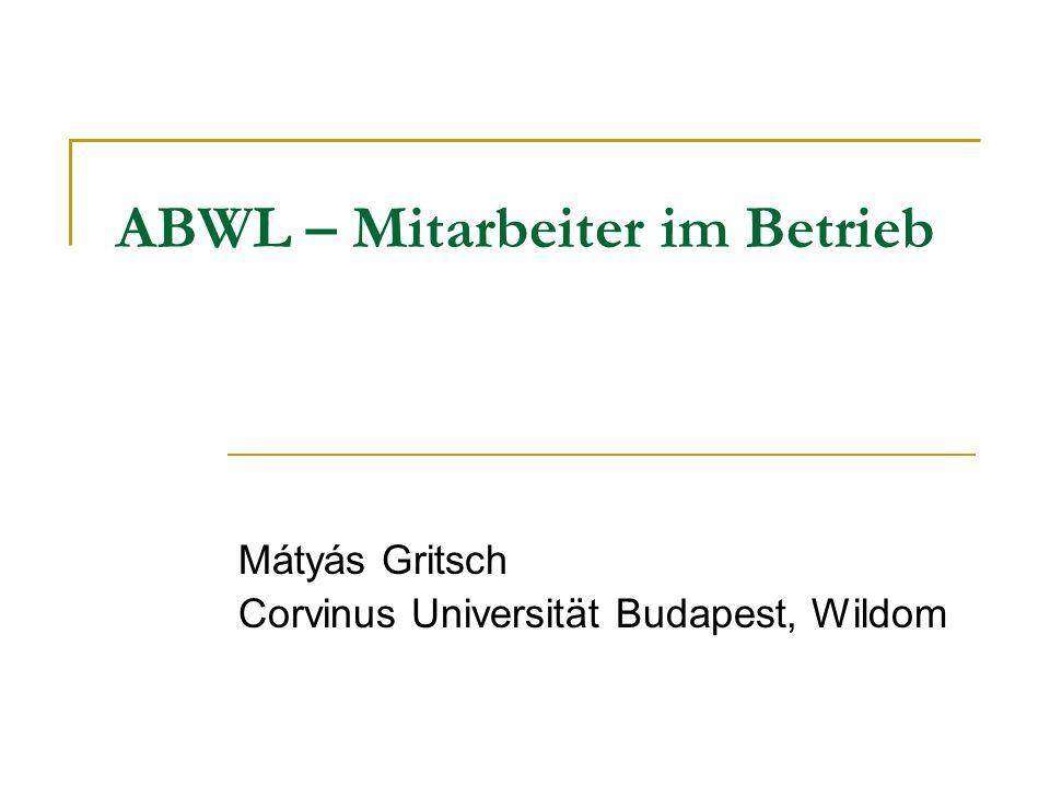 ABWL – Mitarbeiter im Betrieb Mátyás Gritsch Corvinus Universität Budapest, Wildom