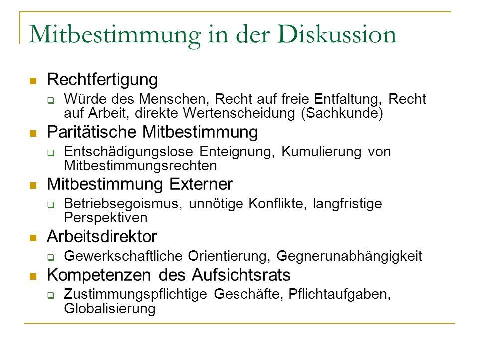 Mitbestimmung in der Diskussion Rechtfertigung Würde des Menschen, Recht auf freie Entfaltung, Recht auf Arbeit, direkte Wertenscheidung (Sachkunde) P