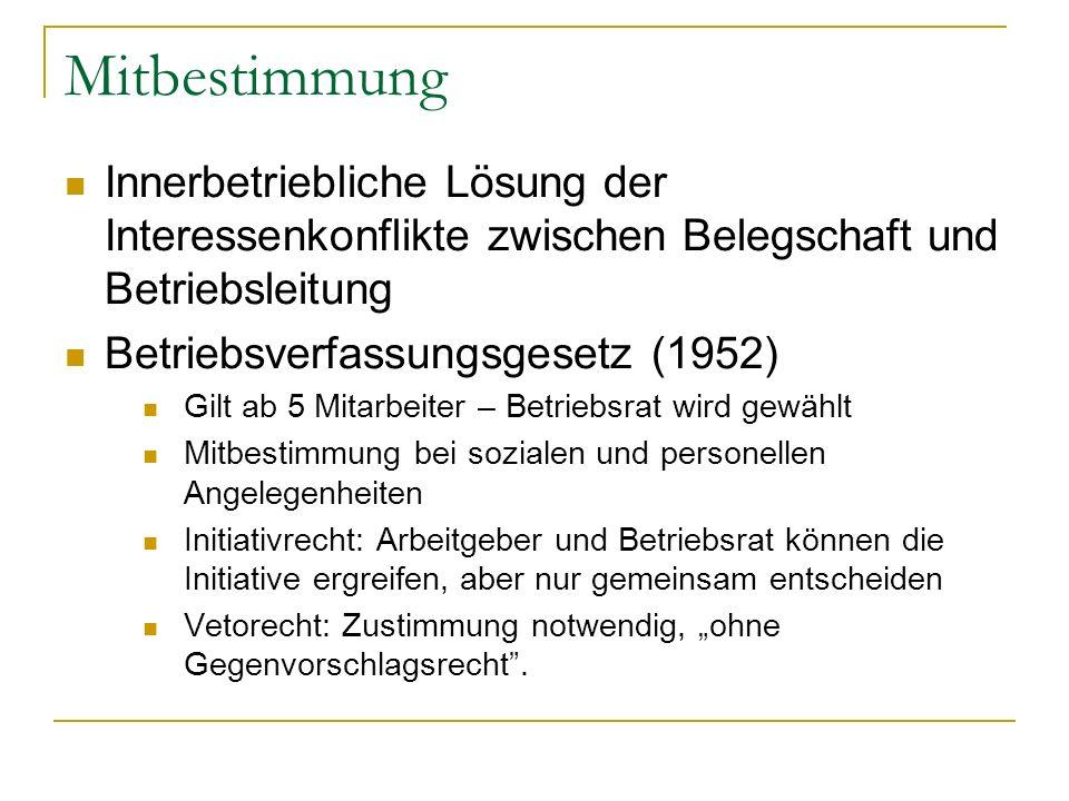 Mitbestimmung Innerbetriebliche Lösung der Interessenkonflikte zwischen Belegschaft und Betriebsleitung Betriebsverfassungsgesetz (1952) Gilt ab 5 Mit