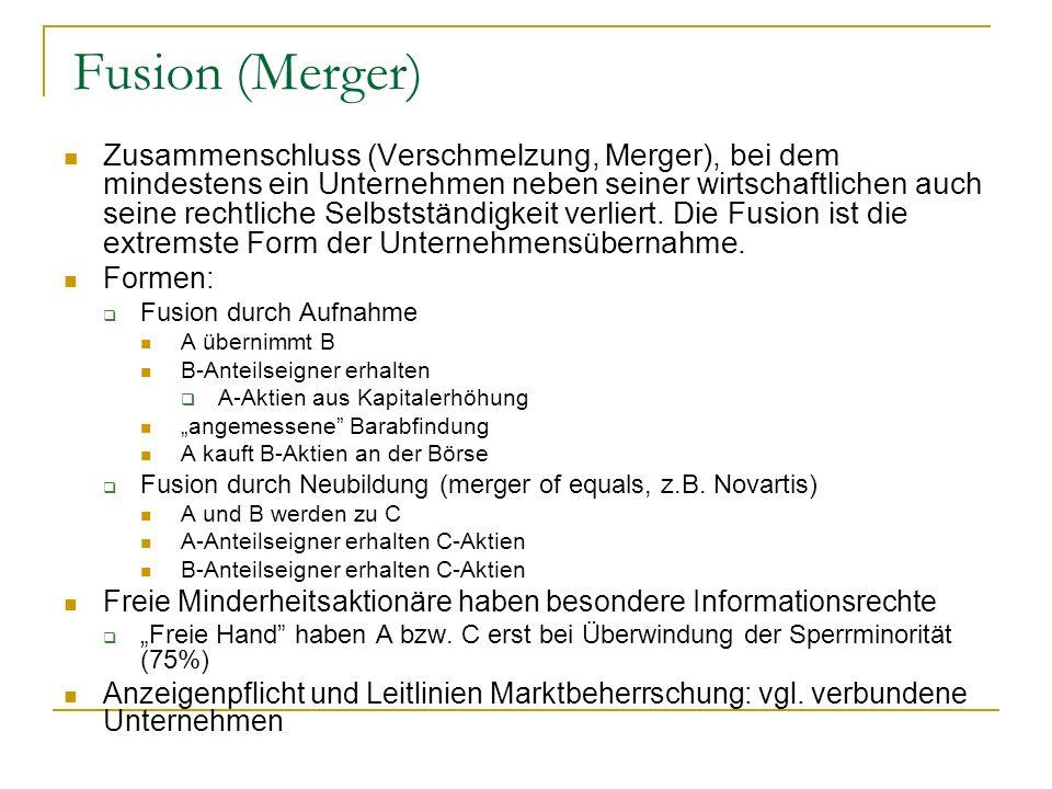 Fusion (Merger) Zusammenschluss (Verschmelzung, Merger), bei dem mindestens ein Unternehmen neben seiner wirtschaftlichen auch seine rechtliche Selbst