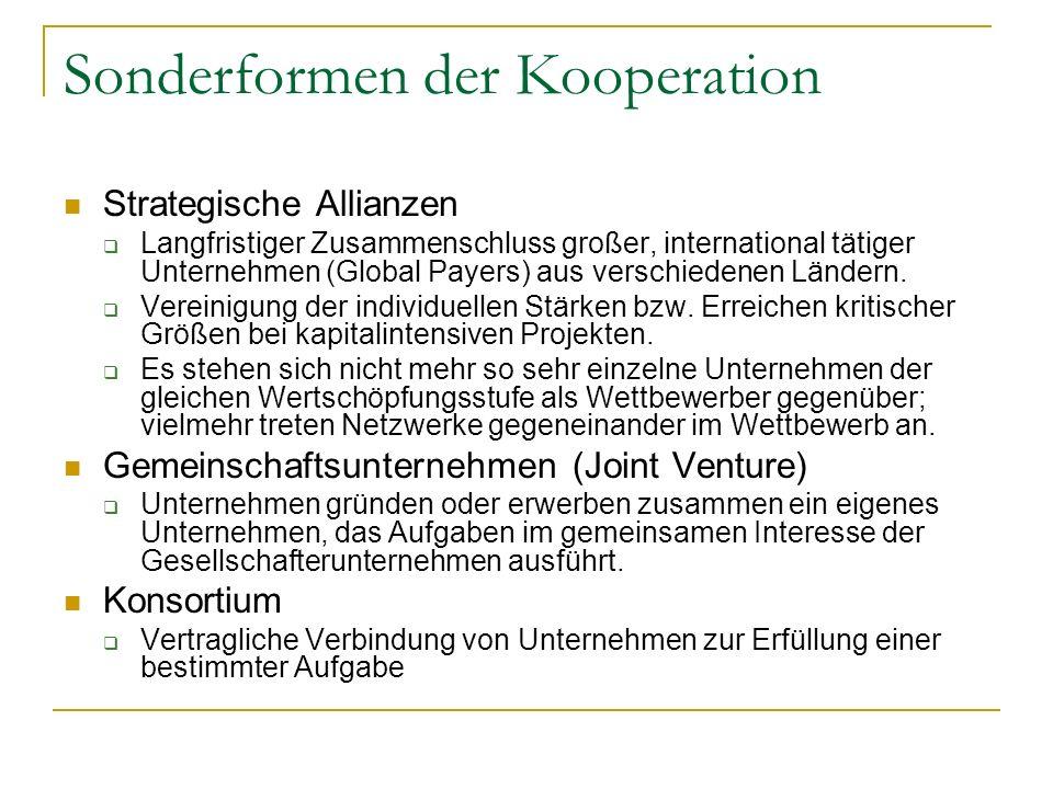 Sonderformen der Kooperation Strategische Allianzen Langfristiger Zusammenschluss großer, international tätiger Unternehmen (Global Payers) aus versch