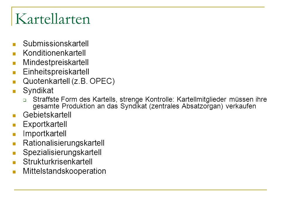 Kartellarten Submissionskartell Konditionenkartell Mindestpreiskartell Einheitspreiskartell Quotenkartell (z.B. OPEC) Syndikat Straffste Form des Kart