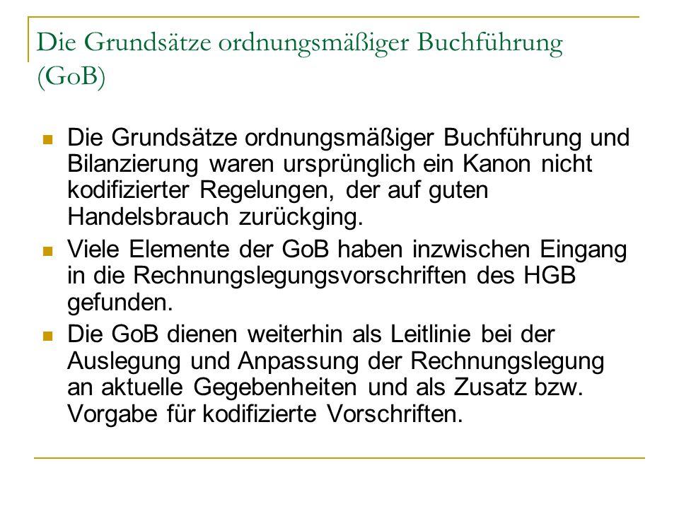 Die Grundsätze ordnungsmäßiger Buchführung (GoB) Die Grundsätze ordnungsmäßiger Buchführung und Bilanzierung waren ursprünglich ein Kanon nicht kodifi