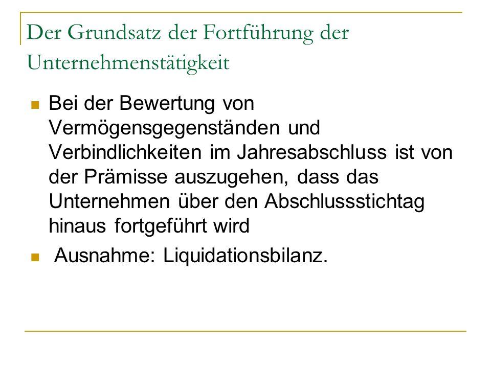Der Grundsatz der Fortführung der Unternehmenstätigkeit Bei der Bewertung von Vermögensgegenständen und Verbindlichkeiten im Jahresabschluss ist von d