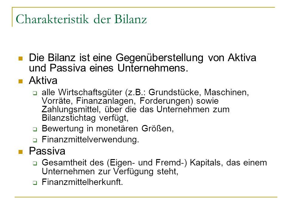 Charakteristik der Bilanz Die Bilanz ist eine Gegenüberstellung von Aktiva und Passiva eines Unternehmens. Aktiva alle Wirtschaftsgüter (z.B.: Grundst