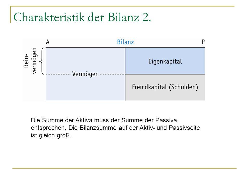 Charakteristik der Bilanz 2. Die Summe der Aktiva muss der Summe der Passiva entsprechen. Die Bilanzsumme auf der Aktiv- und Passivseite ist gleich gr
