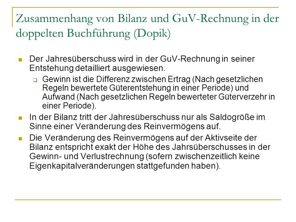 Zusammenhang von Bilanz und GuV-Rechnung in der doppelten Buchführung (Dopik) Der Jahresüberschuss wird in der GuV-Rechnung in seiner Entstehung detai