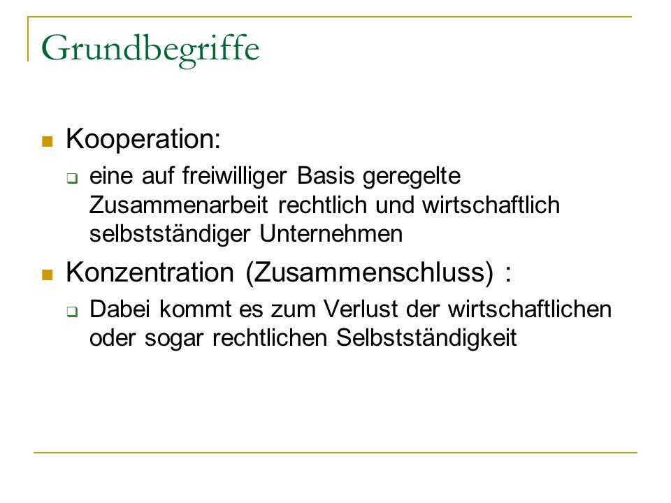 Grundbegriffe Kooperation: eine auf freiwilliger Basis geregelte Zusammenarbeit rechtlich und wirtschaftlich selbstständiger Unternehmen Konzentration (Zusammenschluss) : Dabei kommt es zum Verlust der wirtschaftlichen oder sogar rechtlichen Selbstständigkeit