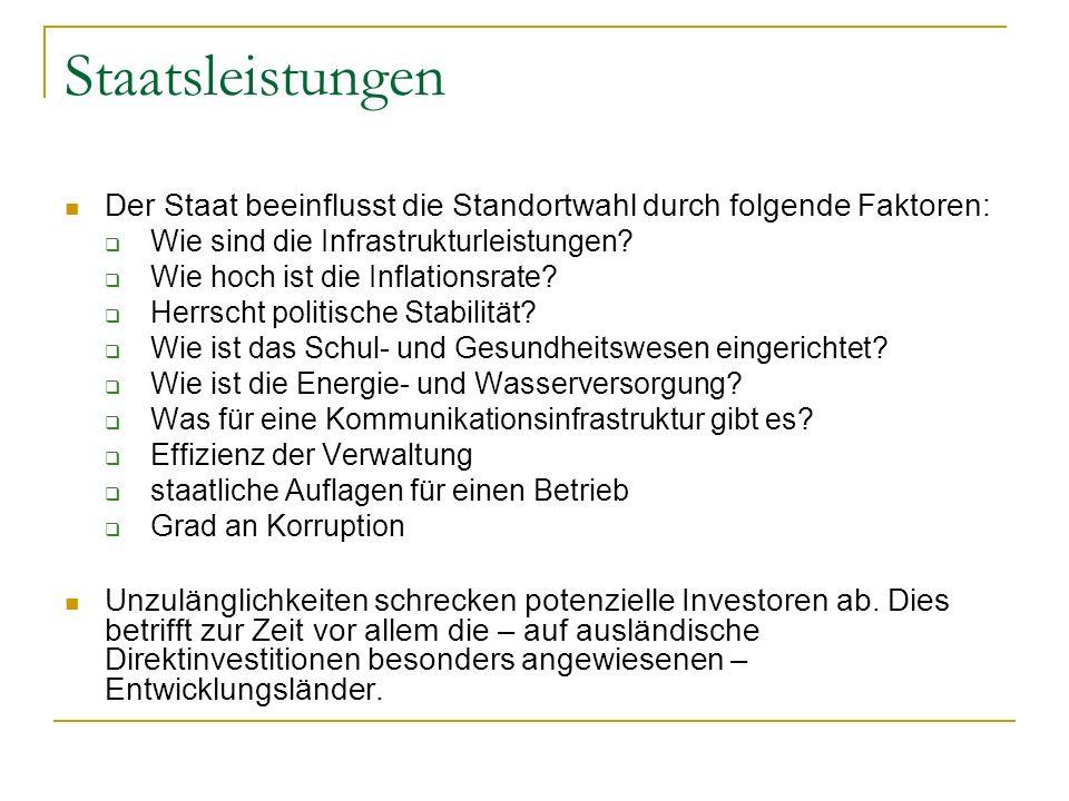 Staatsleistungen Der Staat beeinflusst die Standortwahl durch folgende Faktoren: Wie sind die Infrastrukturleistungen? Wie hoch ist die Inflationsrate